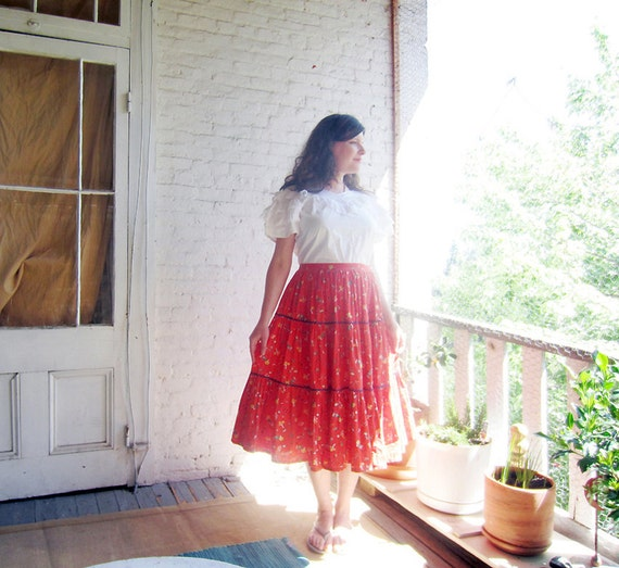 RESERVED 1950s cotton skirt RED Happy Farm girl fabric Full tiered 50s skirt