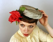 vintage 1950s hat / tilt pillbox hat / a rose by any other name