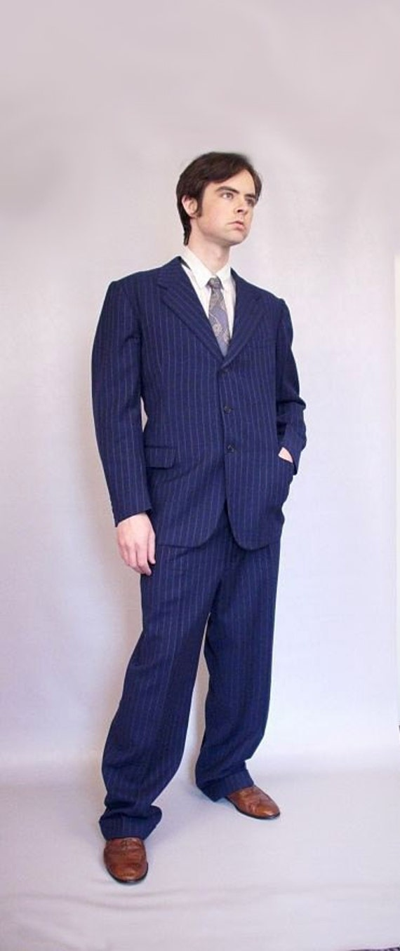 1930s pinstripe mens suit // vintage 30s wool suit // old hollywood gangster suit