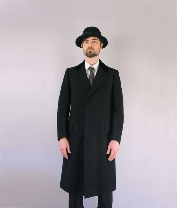 1940s Mens Coat Chesterfield Coat Fine Wool And Velvet