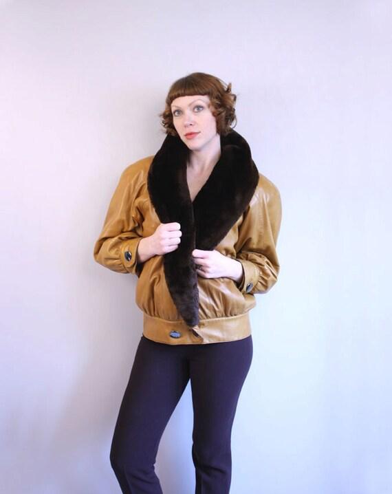 vintage Yves Saint Laurent / leather jacket / avant garde designer shearling coat