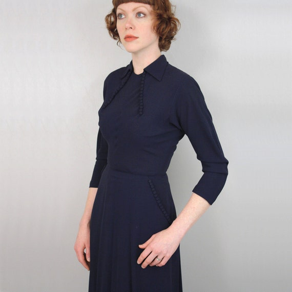 vintage 1940s 50s dress / R&K Originals crepe dress / constant charmer