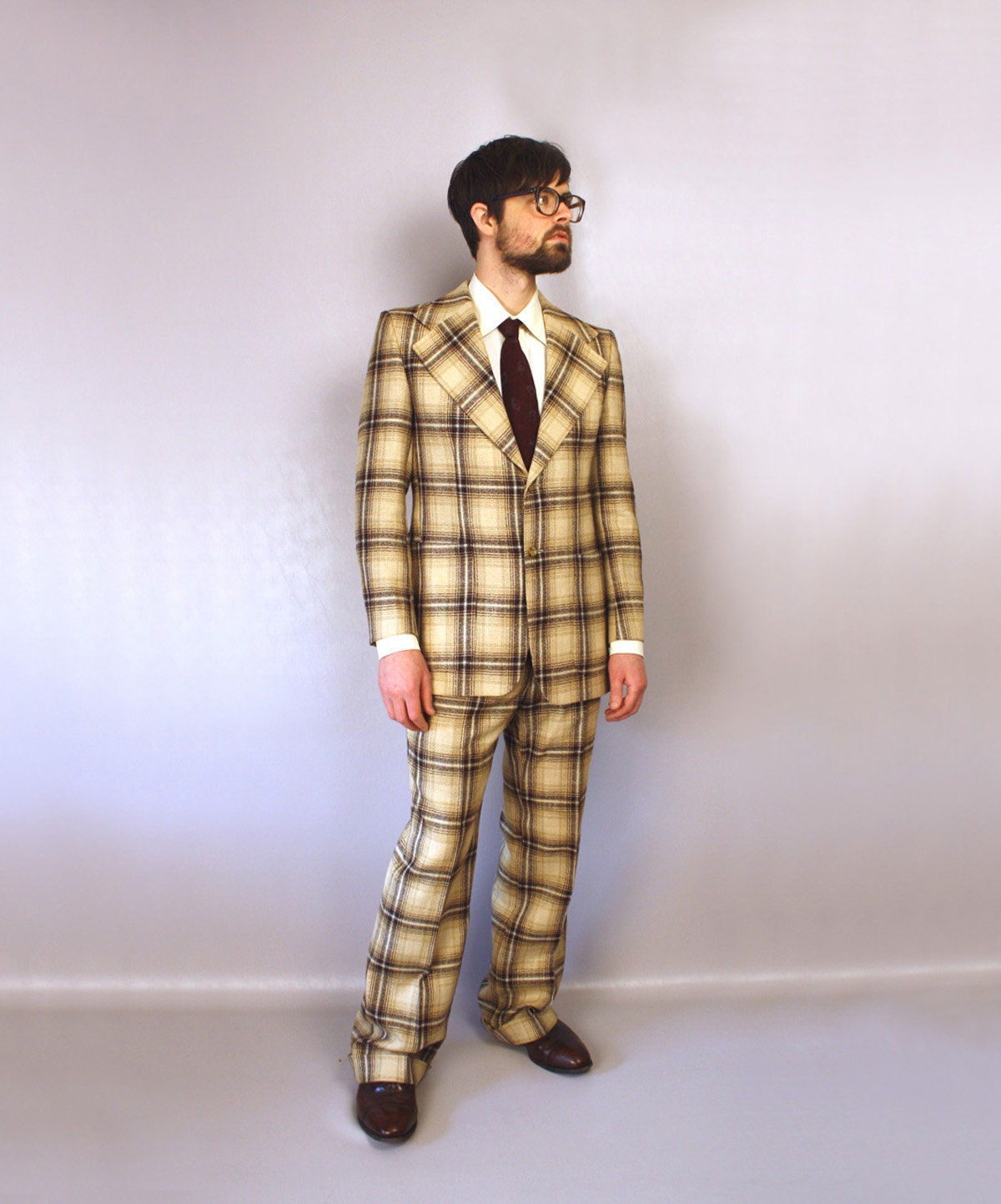 1970s mens suit // designer plaid suit // Pierre Cardin suit