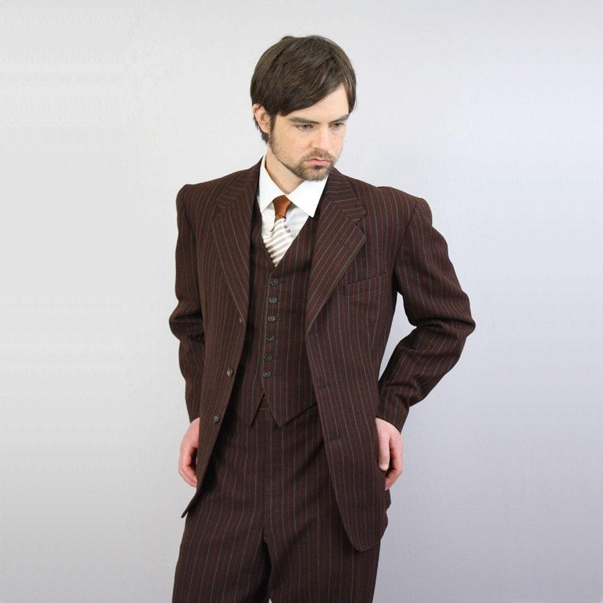 vintage 1940s suit / mens three piece pinstripe suit