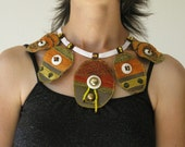 Orange, Yellow, Gray Upcycled CHOCKER - Bib - NECKLACE Fabric Textile Jewelry & Vintage  / New Buttons and Beads
