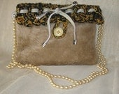 An eco cream black clutch / hand bag / evening bag, crochet video tape plus wool & faux fur and beads