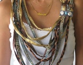 Boho - Chic SPAGHETTI NECKLACE in Gold, Brown, Blue shades  with decorative Buttons  & Ring. Textile - Fabric ECO Jewelry