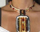 Young, Modern, Eco CHOKER NECKLACE made of various Textile / fabrics leftovers in White, Black, Gold, Red, Brown, Cream & Beads decorations.
