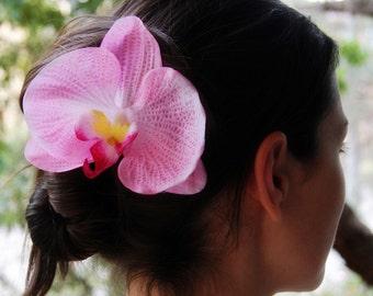 Orchid Hair Clip, Pink Orchid Hair Flower, phalaenopsis hair clip, tropical head piece, flower fascinator, Flower Hair clip
