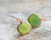 Post earrings - Green apples