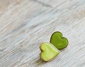 Post earrings -Grass green Hearts