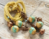 OOAK Boho necklace - Beige and turquoise with copper