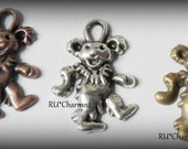 6pc Antique Style Rock Star Dancing BeaR Charms - SiLveR CoPPeR BronZe