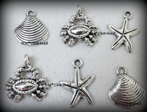 6pcs On the BEACH - starfish crab  shell - NauTicaL Charms