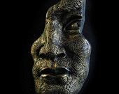 Fabulous Gold Face Stone Art Sculpture, Male Face Sculpture, Gift For Him, Wall Art, Michelangelo Renaissance Man