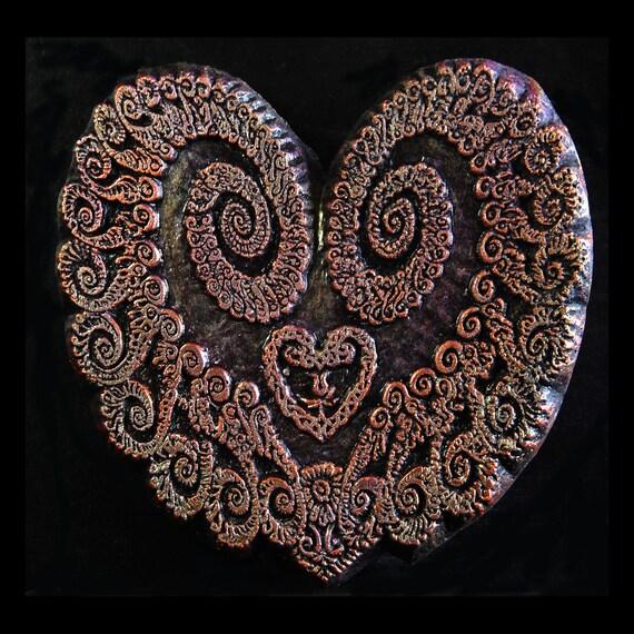Valentine Heart Art Stone Sculpture, Abstract Fractal Valentine Heart Art Wall Plaque, Engagement Wedding Gift
