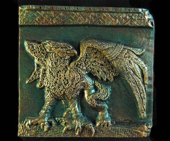 Griffin Sculpture Wall Art Plaque, Garden Stone Art, Antique Home Decor, Gift for Him, Griffon Gryphon