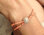 Coral and Gold Pave