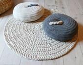 Round Pillow Crochet - Gray