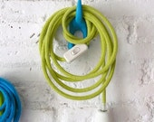 Textile cable lamp with switch and plug - green