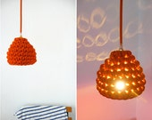 Pendant lamp with crocheted lampshade and textile cable - orange