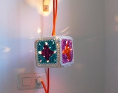 Pendant lamp with Granny Square Crochet lampshade and textile cable