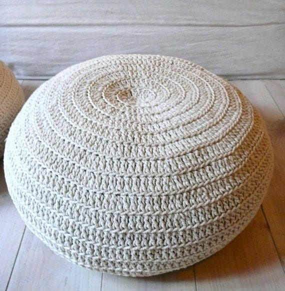 Floor Pillow Crochet Pattern : Floor Cushion Crochet ecru by lacasadecoto on Etsy