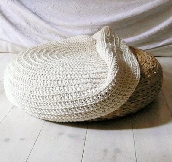 crochet stool cover ecru. Black Bedroom Furniture Sets. Home Design Ideas