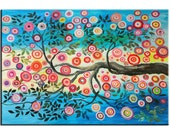 Fancy Blossom, Contemporary Abstract painting 36x24 Free Ship
