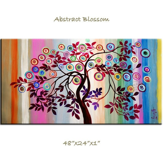 Abstract Fancy Blossom, Contemporary Huge painting 48x24