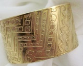 Etched Red Brass Nugold cuff bracelet