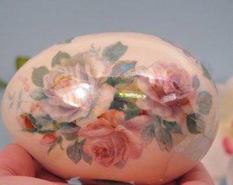 Lovely pink and white roses egg just in time for Easter or spring