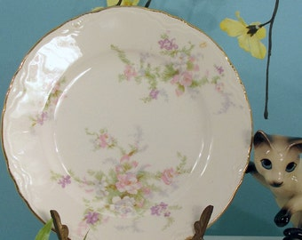 Homer Laughlin dessert plate with pink, green and lavender floral