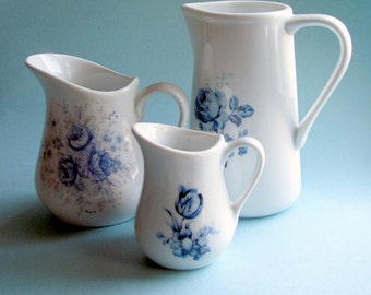 Blue and white Delft style farmhouse pitcher