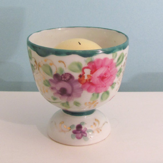 Vintage handpainted egg cup with pink and lavender flowers and 22kt gold