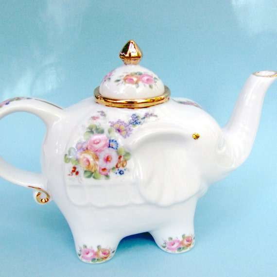 Shabby chic cottage elephant teapot with pink, yellow, blue, red and lavender flowers and 22 kt gold