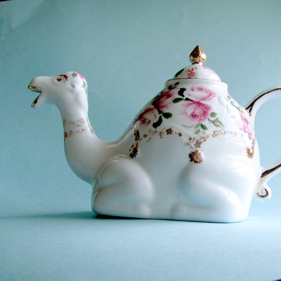 Camel teapot with pink roses and 22kt gold hand-applied designs