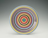 Colorful Stripes Dinner Plate Hand Painted Concentric Circles Dinnerware