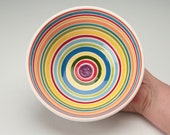 Wow Striped Bowl Hand Painted Serving or Personal