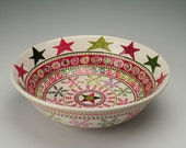 Snowflakes and Stars Bowl Large Serving Christmas Holidays Dinnerware Hand Painted
