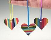 Set of Three Small Hearts Hand Painted Rainbow Colors