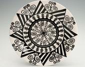 """Bohemian Plate Hand Painted Black and White Mandala - 8"""" Dinnerware"""
