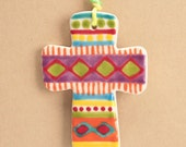 Ceramic Cross Hand Painted Colorful Decorated on Both Sides