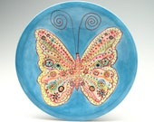 "Butterfly Plate 10"" Hand Painted Colorful Dinnerware"
