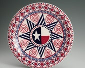 "Red White Blue Plate 10"" Hand Painted USA Flag Dinnerware"