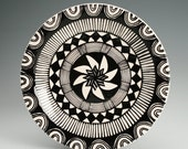 "Mandala Plate Hand Painted Black and White Bohemian - 8"" Dinnerware"
