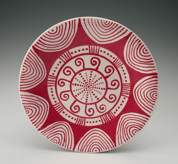 Bohemian Mandala Plate Hand Painted Red and White
