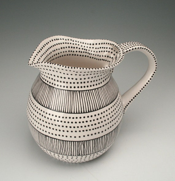 Large Tea Pitcher Black and White Stripes and Dots