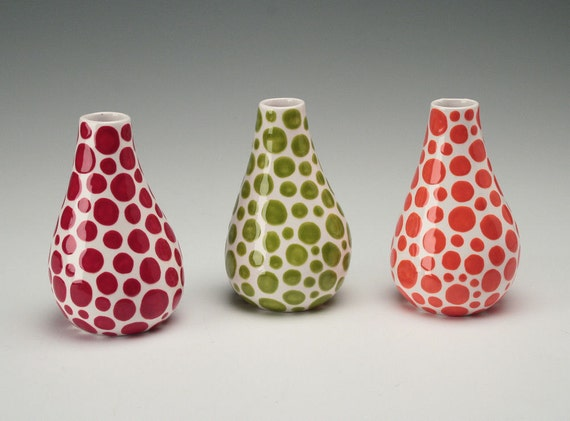 Orange Organic Polka Dot Vase Hand Painted Flower Holder