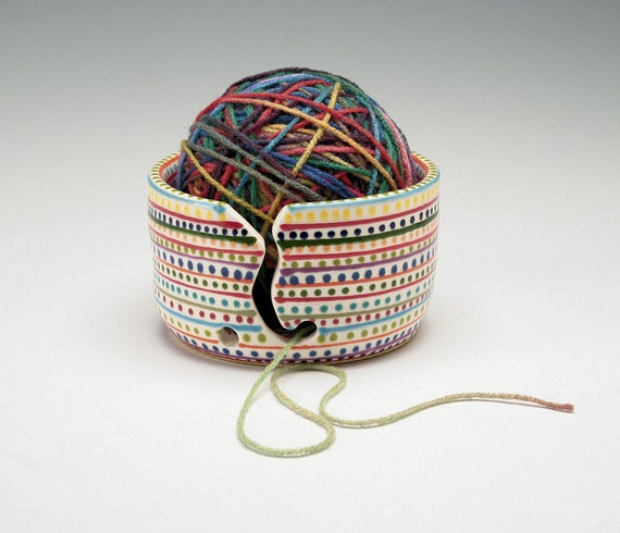Wheel Thrown Yarn Bowl for Knitting and Crochet - Stripes and Dots